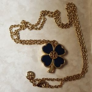 Tory Burch navy & gold clover necklace.